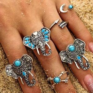 Jewelry - BOHO RING SET Elephant Sun Arrow 6 Ring Set